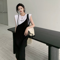Dress Summer 2021 White T, suspender skirt Average size Mid length dress singleton  Sleeveless commute High waist Solid color Socket camisole 18-24 years old Type A Other / other Korean version