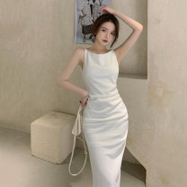 Dress Summer 2021 white S, M longuette singleton  Sleeveless commute One word collar High waist Solid color One pace skirt other camisole 18-24 years old Type H Other / other Korean version 51% (inclusive) - 70% (inclusive)