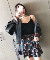 skirt Spring of 2018 S,M,L Decor, decor second batch 5-10 working days Short skirt commute High waist A-line skirt Broken flowers Type A 18-24 years old 31% (inclusive) - 50% (inclusive) TDSTUDIO polyester fiber Korean version