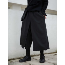 Casual pants black L, M Autumn 2020 Ninth pants Wide leg pants Natural waist original routine 25-29 years old 51% (inclusive) - 70% (inclusive) pocket polyester fiber