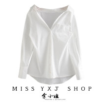shirt white XS,S,M,L Spring 2021 polyester fiber 31% (inclusive) - 50% (inclusive) Long sleeves street Regular Polo collar Solid color Straight cylinder YXJ-21-314 Europe and America
