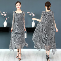 Dress Summer of 2019 Black and white S,M,L,XL,2XL,3XL longuette singleton  Short sleeve street Crew neck Loose waist Dot Socket Irregular skirt other Others Type A Hongwang factory Three dimensional decoration, 3D, printing 71% (inclusive) - 80% (inclusive) Silk and satin silk Europe and America
