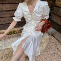 Dress Spring 2021 White fishtail skirt S,M,L Mid length dress singleton  Short sleeve commute V-neck High waist zipper puff sleeve Others Type X
