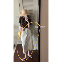 skirt Summer 2021 S,M,L Gentle white, cherry powder Mid length dress commute High waist A-line skirt Solid color 18-24 years old Korean version