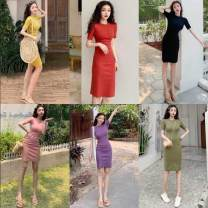 Dress Spring 2020 Cinnabar red, coral girl pink, purple flowers, temperament black, cobalt green, corn yellow Average size Mid length dress singleton  Short sleeve commute Solid color 18-24 years old Ezrin Korean version other