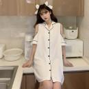 Nightdress 37 degrees C Short sleeve Short skirt Solid color summer 20210513 L [recommended 90-110 kg], XL [recommended 110-130 kg], 2XL [recommended 130-150 kg], 3XL [recommended 150-170 kg], 4XL [recommended 170-200 kg] White, black