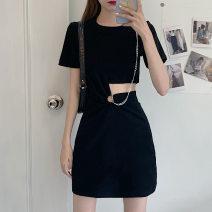 Dress Summer 2021 black M,L,XL,2XL,3XL,4XL Short skirt singleton  Short sleeve commute Crew neck High waist Solid color routine 51% (inclusive) - 70% (inclusive) other