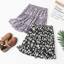 skirt Summer 2020 S-recommend 85-120 kg, m-recommend 100-140 kg, l-120-180 kg White flowers on black background Short skirt commute High waist A-line skirt Decor Type A 18-24 years old Shan Qi AI Yi Korean version