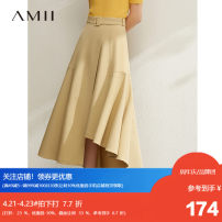 skirt Spring 2020 160/68A/M,.,165/72A/L,150/60A/XS,155/64A/S,170/76A/XL Tan, description, dark at night Mid length dress commute High waist A-line skirt Solid color Type A 25-29 years old 1204TM0886 71% (inclusive) - 80% (inclusive) Amii polyester fiber Asymmetry