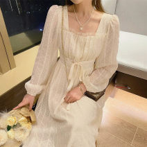 Dress Spring 2021 Apricot long sleeve dress, apricot suspender dress XS,S,M,L,XL longuette singleton  Long sleeves commute square neck High waist Solid color other other Princess sleeve Others 25-29 years old Type A Simplicity 30% and below other other
