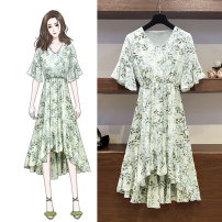 Women's large Spring 2021, summer 2021 Green, blue Large XL, large XXL, large XXL, large XXXXL, large XXXXL Dress thin Short sleeve 1031# Ocnltiy
