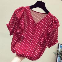 Women's large Spring 2021, summer 2021 Red, white, black M [80-100 Jin], l [100-120 Jin], XL [120-140 Jin], 2XL [140-160 Jin], large factory workmanship, quality assurance, 3XL [160-180 Jin], 4XL [180-200 Jin] singleton  commute easy thin Socket Short sleeve Dot Korean version routine polyester XF01