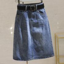 skirt Spring 2021 S,M,L,XL,2XL blue longuette Versatile High waist Denim skirt Solid color Type A 25-29 years old E344 51% (inclusive) - 70% (inclusive) Denim Ocnltiy cotton Chains, pockets, buttons
