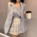 Fashion suit chic moss 5-26B-2957 96% and above polyester fiber Summer 2020 Girl pink suit, girl pink suit, girl pink sling, girl pink sling, girl pink plaid skirt, girl pink plaid skirt, girl pink suit, girl pink suit S,M,L
