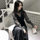 Dress Winter 2020 black S,M,L,XL,2XL,3XL,4XL,5XL Two piece set Long sleeves commute V-neck Solid color 25-29 years old Korean version