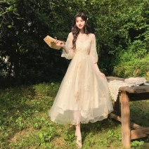 Dress Spring 2021 Cardigan, suspender skirt S,M,L Mid length dress Two piece set V-neck Type A Gouhua hollow, gauze net other