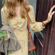 Dress Spring 2021 yellow M [recommended 90-100 kg], l [recommended 100-120 kg], XL [recommended 120-140 kg], 2XL [recommended 140-160 kg], 3XL [recommended 160-180 kg], 4XL [recommended 180-200 kg] longuette singleton  Long sleeves commute V-neck High waist Broken flowers Socket A-line skirt routine