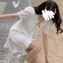 Dress Summer 2021 Short white, long white S,M,L Mid length dress singleton  Short sleeve commute other High waist Solid color Socket Princess Dress routine Others 18-24 years old Type H Korean version 31% (inclusive) - 50% (inclusive) other polyester fiber