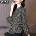 Lace / Chiffon Spring 2021 black S M L XL XXL Long sleeves commute Socket singleton  Self cultivation Regular stand collar Decor bishop sleeve 35-39 years old Lingzi Feifei LZ21X010494 Ol style Polyester 100% Pure e-commerce (online only)