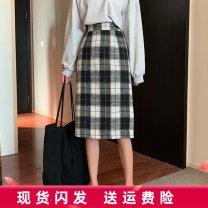skirt Winter of 2019 M,L,XL,2XL,3XL,4XL Black, Khaki Mid length dress commute High waist A-line skirt lattice Type A 18-24 years old 81% (inclusive) - 90% (inclusive) other polyester fiber Three dimensional decoration, zipper Korean version 201g / m ^ 2 (including) - 250G / m ^ 2 (including)
