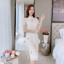 Dress Summer 2021 Apricot S,M,L,XL Mid length dress singleton  Long sleeves commute stand collar High waist scenery One pace skirt routine 25-29 years old Type H Korean version 3.20-1 71% (inclusive) - 80% (inclusive) other