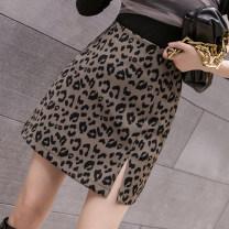 skirt Autumn 2020 S,M,L,XL Apricot, black, coffee, picture, leopard, zebra Short skirt commute High waist A-line skirt Leopard Print Type A 25-29 years old 8.21-2 Korean version
