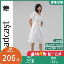 Dress Summer 2020 W20 white Q00 Navy K40 black XS S M L XL Mid length dress singleton  Short sleeve commute Crew neck Loose waist Solid color Socket A-line skirt bishop sleeve 25-29 years old Type A Broadcast / broadcast Simplicity DDN2LD135 More than 95% other Cotton 100%