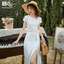 Dress Spring 2020 white S M L Mid length dress singleton  Short sleeve commute Crew neck High waist Solid color Socket One pace skirt routine Others 18-24 years old Type X format Simplicity Pleating More than 95% cotton Cotton 98% polyurethane elastic fiber (spandex) 2% Pure e-commerce (online only)
