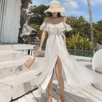 Dress Summer of 2019 white S M L XL longuette singleton  Short sleeve Sweet One word collar High waist Solid color Socket Big swing Sleeve camisole 18-24 years old Type X format Lace up print with ruffle and open back More than 95% Chiffon polyester fiber Polyester 100% Bohemia