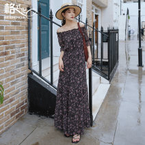 Dress Summer 2020 Black Floral Dress S M L longuette singleton  three quarter sleeve Sweet One word collar Elastic waist Broken flowers Socket Big swing pagoda sleeve Breast wrapping 18-24 years old Type A format Pleated printing with Auricularia auricula GS20-H34415 More than 95% Chiffon Mori