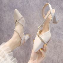 Sandals 34,35,36,37,38,39 Beige, yellow, green, beige upgrade, yellow upgrade, green upgrade, beige compact, apricot compact PU Other / other Baotou Thick heel High heel (5-8cm) Spring 2021 Trochanter Korean version Solid color Adhesive shoes Youth (18-40 years old) rubber daily Rear trip strap PU PU