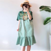 Women's large Summer of 2019 green 2XL (recommendation 120-140), 3XL (recommendation 140-160), 4XL (recommendation 160-180), 5XL (recommendation 180-200), XL (recommendation 100-120) Dress singleton  commute easy thin Socket Short sleeve Crew neck Medium length cotton routine Medium length