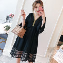 Women's large Spring of 2019 Black, white Large XL, large XXL, large XXL, large XXXXL, large L Dress singleton  commute easy moderate Socket Long sleeves Solid color V-neck Medium length Polyester, cotton, others Three dimensional cutting Lotus leaf sleeve Lace stitching Medium length Ruffle Skirt