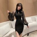 Women's large Autumn 2020 black Large XL, large L, m, 2XL, 3XL, 4XL Dress singleton  commute Long sleeves Solid color Retro stand collar bishop sleeve 18-24 years old Middle-skirt other zipper
