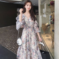 Women's large Summer 2021 Dress singleton  commute easy moderate Socket Broken flowers V-neck Polyester, others Three dimensional cutting puff sleeve Other / other longuette Princess Dress