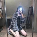 Women's large Summer 2020 Shirt, suspender skirt L (100-120 kg), XL (120-140 kg), 2XL (140-160 kg), 3XL (160-180 kg), 4XL (180-200 kg) Two piece set commute easy thin Cardigan Long sleeves Plaid, solid Korean version Polo collar Medium length Three dimensional cutting routine Middle-skirt