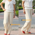 Casual pants Cropped Trousers Straight pants Natural waist hemp