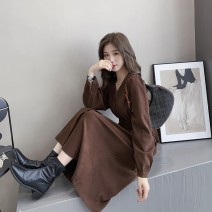 Women's large Autumn 2020 Large L, large XL, m, 2XL, 3XL, 4XL Dress singleton  commute easy moderate Cardigan Long sleeves Solid color Korean version V-neck other Three dimensional cutting routine longuette