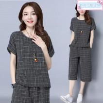 Casual suit Summer 2021 Gray, black M,L,XL,XXL,XXXL,4XL Q708 91% (inclusive) - 95% (inclusive) polyester fiber