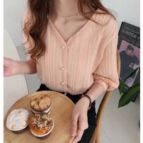 shirt Apricot, green, pink M,L,XL,2XL,3XL,4XL Summer 2020 other 30% and below three quarter sleeve commute V-neck Single row multi button puff sleeve 18-24 years old Korean version