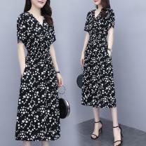 Dress Summer 2020 black M,L,XL,4XL,XXL,XXXL 91% (inclusive) - 95% (inclusive) polyester fiber