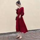 Dress Autumn 2020 Apricot, red, black, white vest S,M,L,XL,2XL Mid length dress singleton  Long sleeves commute V-neck High waist Solid color Socket Big swing other Others Type A 51% (inclusive) - 70% (inclusive)