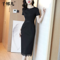 Dress Summer 2021 black S M L XL XXL longuette singleton  Short sleeve commute Crew neck middle-waisted Solid color Socket One pace skirt routine 30-34 years old Type H Qianna'er lady Zipper lace 51% (inclusive) - 70% (inclusive) nylon Exclusive payment of tmall