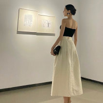 skirt Spring 2021 S,M,L Off white longuette Versatile High waist A-line skirt Solid color Type A More than 95% polyester fiber Bow, fold, lace