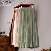 skirt Spring of 2018 One size fits all (skirt length 85CM, elastic waist, suitable for 80-150kg) White black violet Navy beige denim blue light red light gray light green Shanshan color water blue sky blue iron embroidered red Mid length dress commute High waist A-line skirt Solid color Type A other
