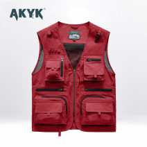 Vest / vest Fashion City AKYK Other leisure standard Vest routine spring V-neck Large size 2021 Military brigade of tooling Solid color zipper Straight hem nylon No iron treatment Multiple pockets nothing Brocade polyester Three dimensional bag More than 95%