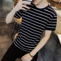 T-shirt Youth fashion routine S,M,L,XL,2XL,3XL Good fortune Short sleeve Crew neck Self cultivation daily summer Polyester 95% polyurethane elastic fiber (spandex) 5% teenagers routine tide other 2018 stripe Rib decoration polyester fiber Sea soul No iron treatment Fashion brand More than 95%