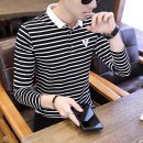 T-shirt Youth fashion 9020 white 9020 black 9020 gray routine M L XL 2XL 3XL 4XL Sassoon Long sleeves Lapel Self cultivation Other leisure autumn ZSST116 Cotton 95% polyurethane elastic fiber (spandex) 5% youth routine Youthful vigor Summer of 2019 stripe Color contrast No iron treatment