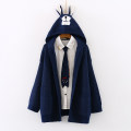 sweater Autumn of 2019 Average size navy blue Long sleeves Cardigan singleton  Medium length other 95% and above other routine Cartoon animation Straight cylinder Keep warm and warm 18-24 years old pocket