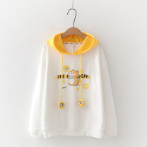 Sweater / sweater Autumn 2020 White dog Average size Long sleeves routine Socket singleton  routine Hood easy Sweet routine Cartoon animation 18-24 years old 81% (inclusive) - 90% (inclusive) Other / other cotton Print, Drawstring cotton Cotton liner college
